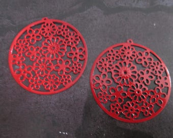 2 prints round /connecteurs red filigree 42 mm