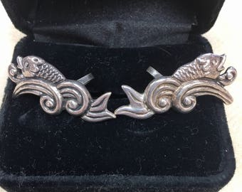 Los Castillo vintage 1940's sterling Taxco fish leaping through waves EARRINGS