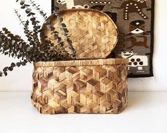 Vintage Large Rectangular Wicker Lined Storage Basket Lid + Woven Box + Boho Organization + New Bohemians + Naturally Modern Neutral Decor
