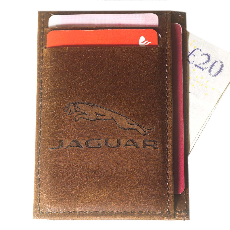 jaguar real leather credit id business card holder oyster jaguar