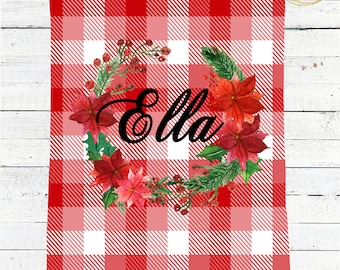 Buffalo Plaid Baby Bedding / Personalized Baby Blanket / Receiving Blanket Personalized / Buffalo Check Baby Girl / Baby Shower Gift Girl