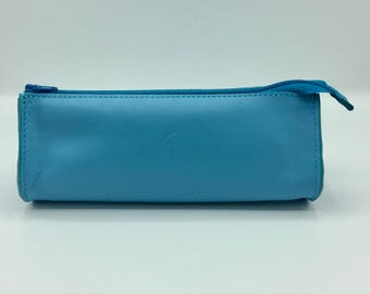 Drop Turquoise leather clutch