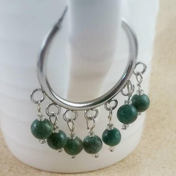 African jade hoops, hoop earrings, jade earrings, green theme jewelry, gemstone jewelry, semi precious stone, stone earrings, stone hoops