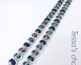 Chainmaille necklace, barrel silver with blue, jewelry with silver and blue, blue  bracelet, silver bracelet, Tessa's chainmail
