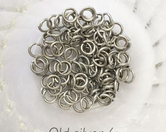 "18g 1/4""chainmaille jump rings, old silver jumprings, aluminum rings, DIY, chainmaille supplies, jump rings, old silver, Tessa's chainmail"
