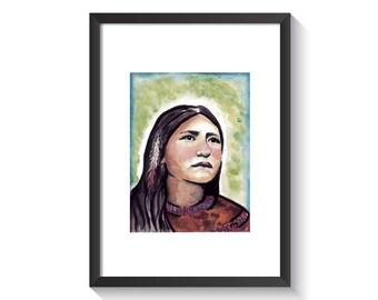 Saint Kateri Tekakwitha Original Watercolor Print