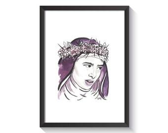 Saint Rose of Lima Original Watercolor Print