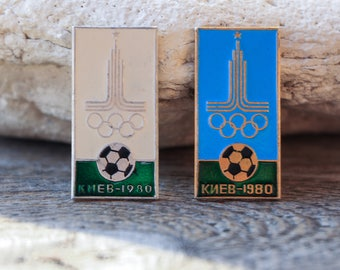 Ukraine Kiev Olympics 1980 Football pins vintage Collectible pins Awesome gift Blue pin Retro pins Enamel pin and buttons pins Unique pins