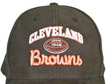 Reebok Vintage NFL Cleveland Browns VINTAGE Cap / Hat - Brown / Orange 1946 Logo - Adjustable One Size Fits All (OSFA)