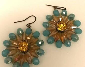 Crystal Flower Hanging Earrings