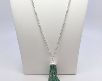 Sterling Silver Acorn Cap Genuine Emerald and Green Sapphire Tassle Necklace on Thick Cable Chain, Handmade