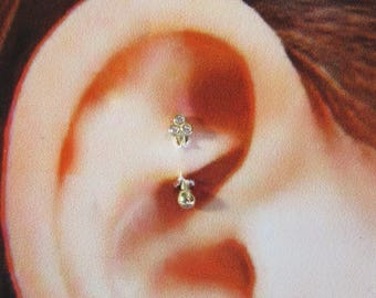 14k Solid Gold,Rook Piercing,Daith,Cartilage,Eyebrow, Curved Barbell..16g..6mm