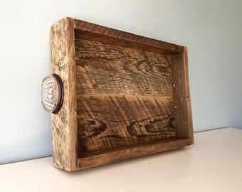 Medium Rustic Serving Tray - Vintage Reclaimed Barn Wood - Crystal Handles - Home Decor