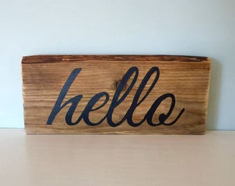 Rustic Hello Sign - Black - Reclaimed Barn Wood - Live Edge - Hand Painted - Gallery Wall - Nursery Decor - Housewarming Gift