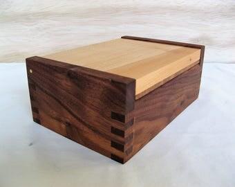 Wooden Walnut & Western Maple Keepsake Box with Hinged Lid