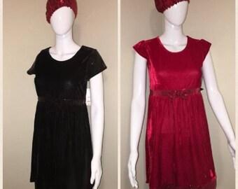 Easter Holiday Sequin Velour Red & Black Velvet Dresses 4T TO GIRLS SIZE 16