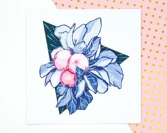 Pink Apples Illustration Print - Pastel Wall Art, Fruit Illustration, Pastel Goth Art, Edgy Home Decor, Triangle Wall Art, Pastel Lover