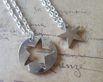 2 set star necklaces ~ silver ~