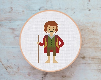 Cross Stitch Pattern Bilbo Baggins the Hobbit Instant Download PDF Counted Chart