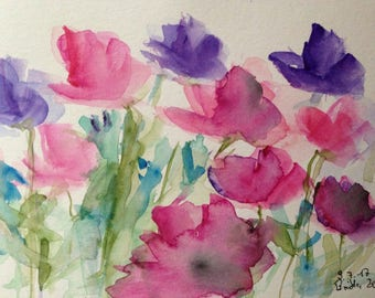 ORIGINAL WATERCOLOR watercolor painting image unique flowers wildflowers art Watercolour