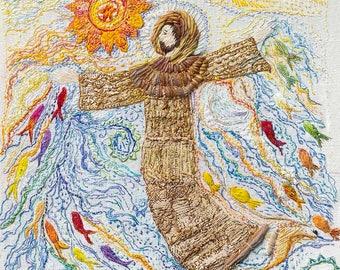 SÃO FRANCISCO e suas ÁGUAS  – Embroidery, Hand Embroidery, Textile Art, Colourful Giclee, Limited Edition Print, Wall Art.