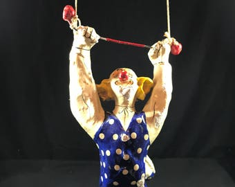 Vintage Paper Mache Clown - Acrobat swinging From A Rope