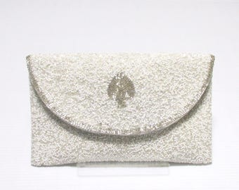 Swaraj Bag beaded embroidered LOGO chain bag - SPADE Aurora 2 SILVER clutch bag party dress