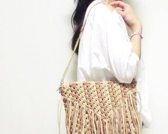 Swaraj Bag macrameshoulder BAG-CAMEL hand-knitted casual chain bag 2-WAY