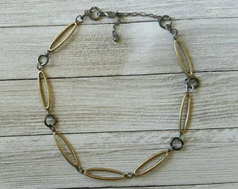 Oval Choker Necklace, Brass and Charcoal Necklace, Modern Jewelry, Womens Jewellery,  Cut out  Necklace, Womens Gifts