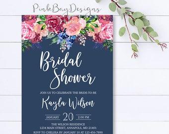 Floral Bridal Shower Invitation, Watercolor Floral Shower Invitation, Bridal Shower Invite, Shower Invitation, Navy Bridal Shower Invite