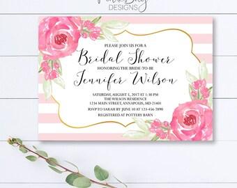 Floral Bridal Shower Invitation, Pink Watercolor Floral Shower Invite, Floral Shower Invite, Bridal Shower Invitation, Pink Shower Invite