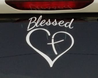 "Blessed car decal. Measures 6.5""×6"" made with 651 oracal vinyl made and designed by me perfect addition for your car or window"