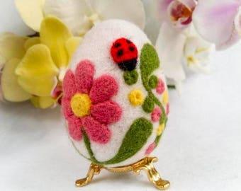 SALE Easter Egg Needle felted Egg Spring Ornament Eggs  Eggs Ornaments With Flower Needle Felted Easter Egg With Flowers Miniature Original