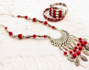 Women's vintage red beaded silver necklace and bracelet set Native American boho hippie