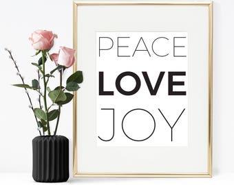 Peace love joy, Christmas quote, Christmas wall decor, Christmas decoration, Christmas minimal decoration