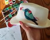 Peint à la main | Chapeau Panama | Chapeau tissé |  Femmes chapeau Fedora | Bord large chapeau de paille | Blanc bonnet | Chapeau de vacances | Chapeaux d'été |  Chapeaux pour les femmes