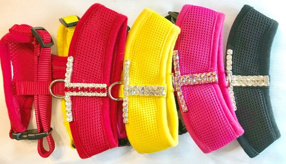 Eye Popping Bling ~ Crystal Rhinestone Dog Cat Pet Harness, Color Choice Yellow, Red, Pink, or Black USA