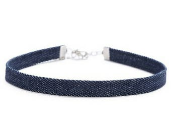 Dark Denim Choker Necklace