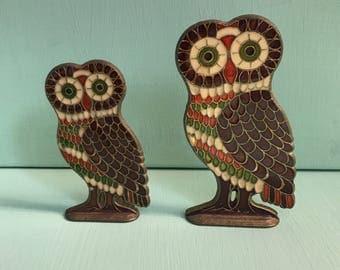 Two Cloisonné /Enamel on Brass Owls
