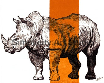 Rhino Rhinoceros Original Artwork Prints / Various Colors Available/ Various Sizes Available