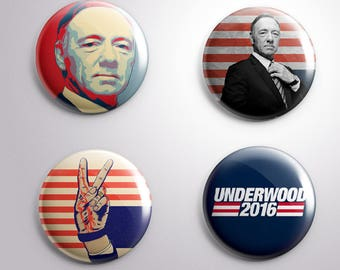 4 FRANK UNDERWWOD FU  House of Cards Tv - pins / buttons / magnets - Different options (b)