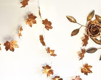 40 LED Copper leaf fairy lights, ivy light garland, string lights, copper ivy, leaf lights