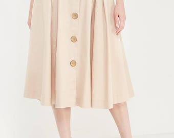 Light beige retro style skirt.Button down high waist skirt, pleated skirt with pockets