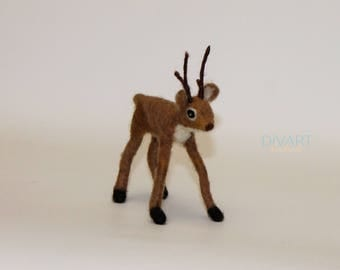 Needle felted deer - Felted deer - Felted Animals - Felted forest animal - 100% Pure Wool