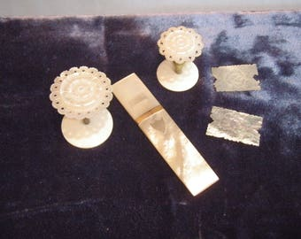Antique Mother of Pearl Needle Case -Thread Reels -Silk Winders