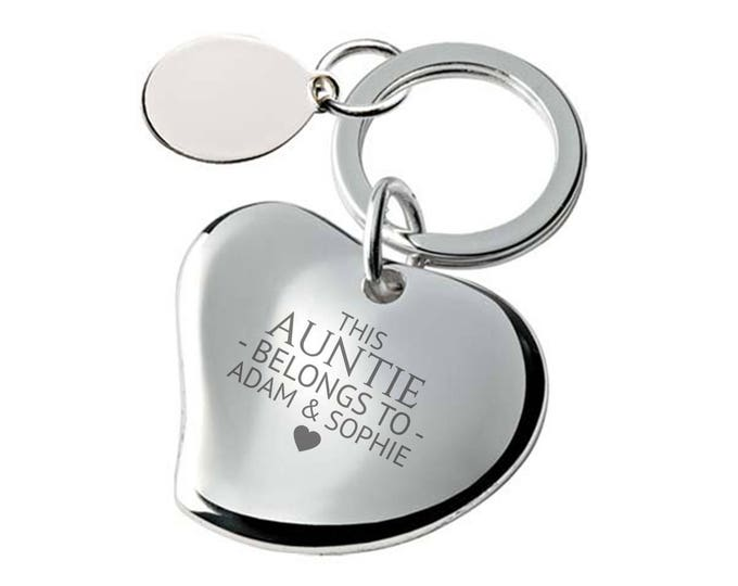 Engraved This AUNTIE belongs to keyring SILVER PLATED, personalised contoured heart keyring - 148-BE3