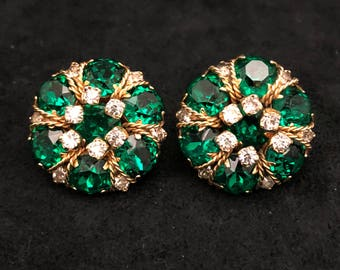 Green and Rhinestone Alice Caviness Clip on Earrings