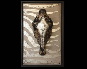 Horse skull on Panel