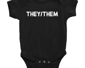 They/Them pronouns Infant Bodysuit baby shower gift