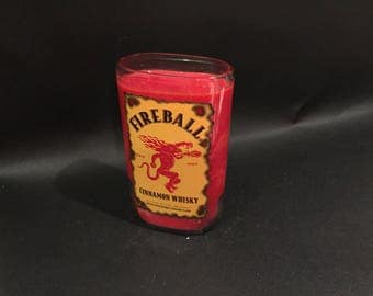 1 Liter  Fireball Candle Cinnamon Whiskey Bottle Soy Candle 1 Liter vs 750ML . Made To Order